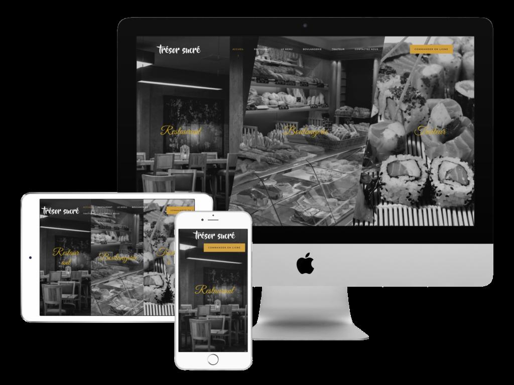 trésor succré creation site web pour le restaurant